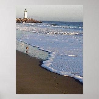 lighthouse on a santa cruz beach poster