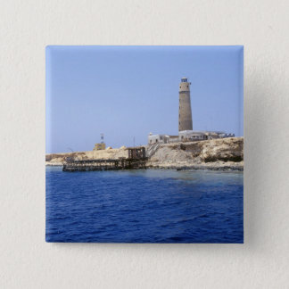 Lighthouse on Brother Islands, Red Sea, Egypt 15 Cm Square Badge