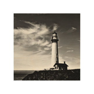 Lighthouse on wood wood print