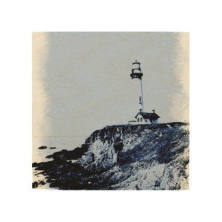 Lighthouse on wood wood wall art