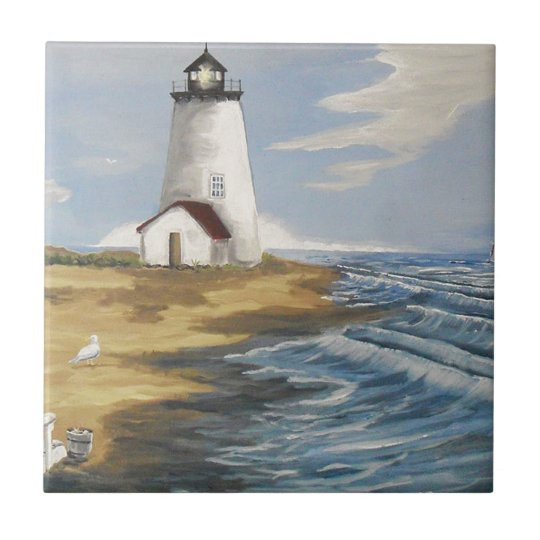 Lighthouse Painting Small Square Tile