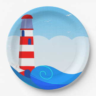 Lighthouse paper plate 9 inch paper plate