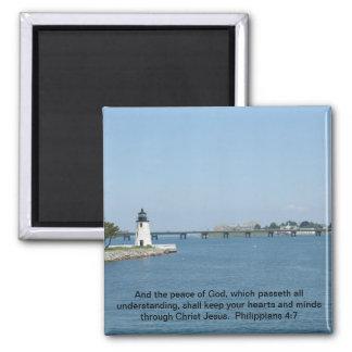 Lighthouse Philippians 4:7 Square Magnet