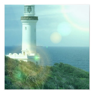 "Lighthouse Photos Invitation 5.25"" Square Invitation Card"