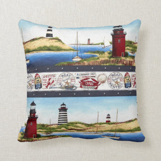 Lighthouse Pillow with Blue Backing