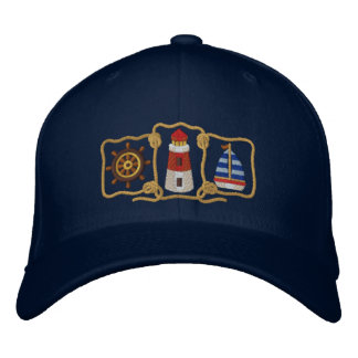 Lighthouse & Sailboat Embroidered Hat