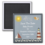 Lighthouse & Sailboat Save The Date Baby Shower Square Magnet