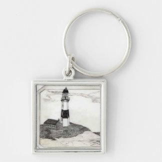Lighthouse Scrimshaw Key Ring