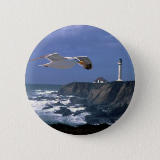 Lighthouse & Seagull 6 Cm Round Badge