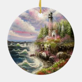 Lighthouse Seascape Round Ceramic Decoration