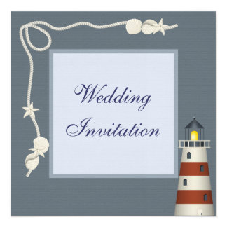 Lighthouse & Shells Linen Wedding Invites