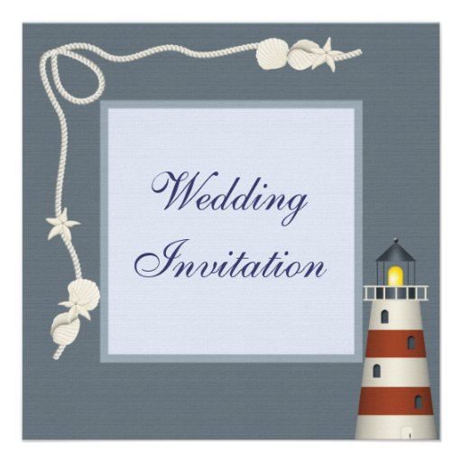 Lighthouse & Shells Linen Wedding Invites