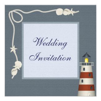 Lighthouse Shells Linen Wedding Invites