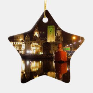 Lighthouse Ship & Liver Buildings, Liverpool UK Ceramic Star Decoration