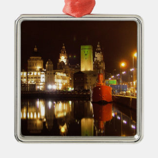 Lighthouse Ship & Liver Buildings, Liverpool UK Christmas Ornament