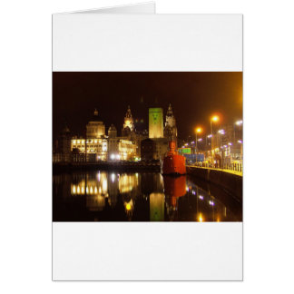Lighthouse Ship & Liver Buildings, Liverpool UK Greeting Card
