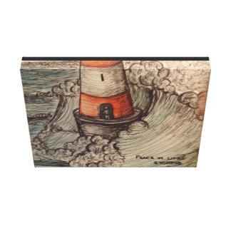 Lighthouse storm canvas