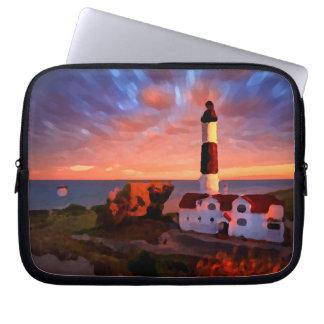 lighthouse sunrise funda_10 laptop sleeve