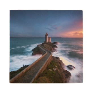 Lighthouse Sunset Plouzané | Finistère, Brittany Wood Coaster