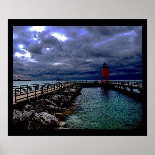 Lighthouse Under Stormy Sky Poster