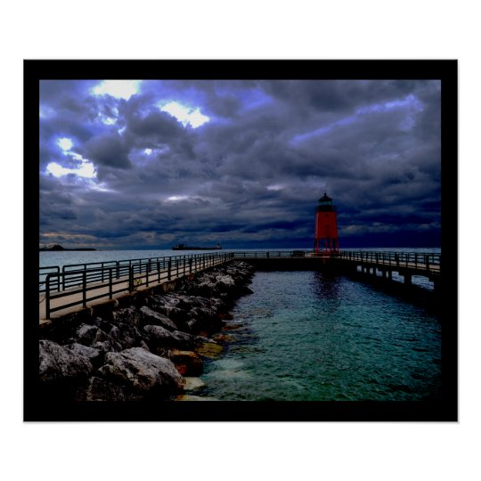 Lighthouse Under Stormy Sky Poster