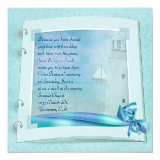 Lighthouse Vow Renewal Wedding Book 5.25x5.25 Square Paper Invitation Card