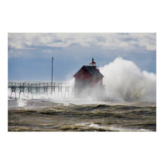 LIGHTHOUSE VS MONSTER WAVE LAKE MICHIGAN POSTERS