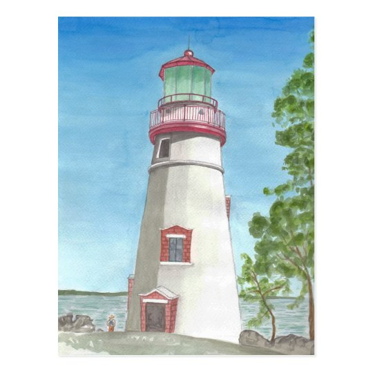 Lighthouse Watercolor Postcard