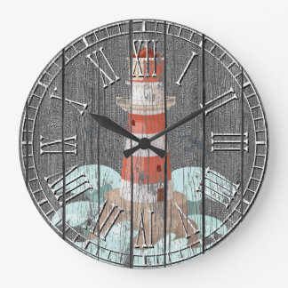 Lighthouse Weathered Pine Large Clock