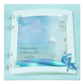 Lighthouse Wedding Book 5.25x5.25 Square Paper Invitation Card
