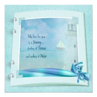 "Lighthouse Wedding Book Invite 5.25"" Square Invitation Card"