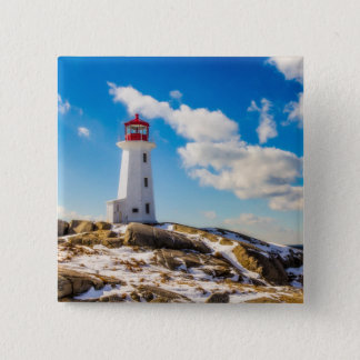 Lighthouse | Winter In Peggy'S Cove, Nova Scotia 15 Cm Square Badge