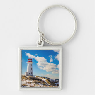 Lighthouse | Winter In Peggy'S Cove, Nova Scotia Silver-Colored Square Key Ring