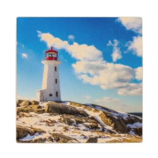 Lighthouse   Winter In Peggy'S Cove, Nova Scotia Wood Coaster