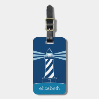 Lighthouse with Custom Name - Nautical Blue White Luggage Tag