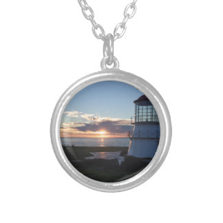 Lighthouse With Fall Sunset Lost Coast California Silver Plated Necklace