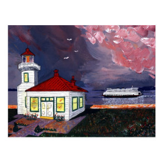 Lighthouse with Ferry Post Cards