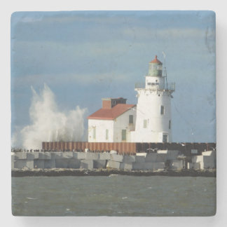 Lighthouse with Wave Stone Coaster