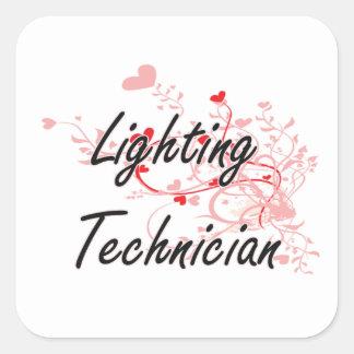 Lighting Technician Artistic Job Design with Heart Square Sticker
