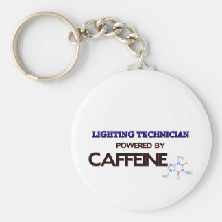 Lighting Technician Powered by caffeine Basic Round Button Key Ring