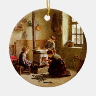 Lighting the Stove, 1886 (oil on panel) Round Ceramic Decoration