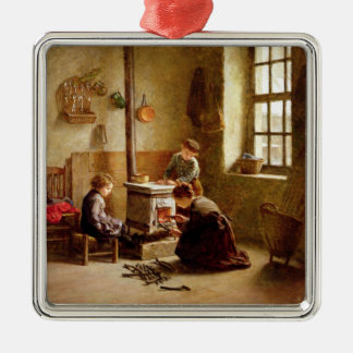 Lighting the Stove, 1886 (oil on panel) Silver-Colored Square Decoration