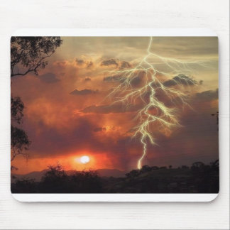 lightning at sunset mouse mat
