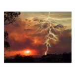 lightning at sunset post cards