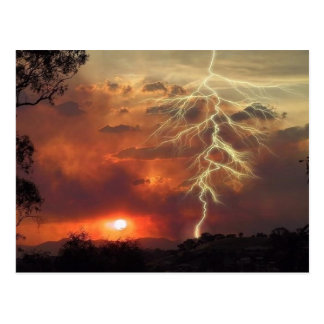 lightning at sunset postcard