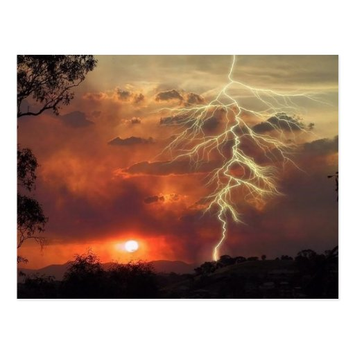 lightning at sunset post card