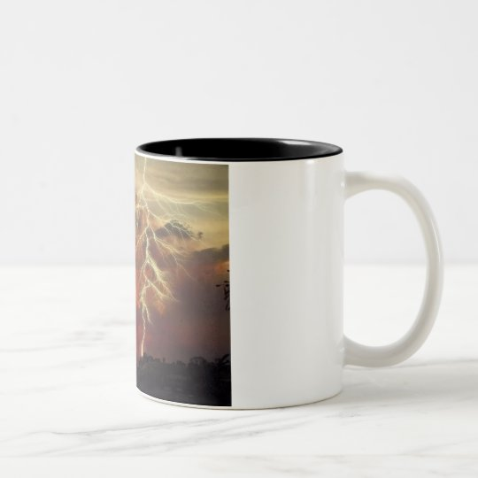 lightning at sunset Two-Tone coffee mug