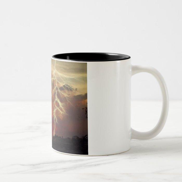 lightning at sunset Two-Tone coffee mug