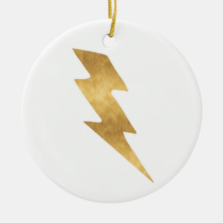 Lightning Bolt in Metallic Gold Christmas Ornament