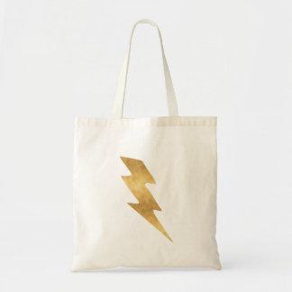 Lightning Bolt in Metallic Gold Tote Bag